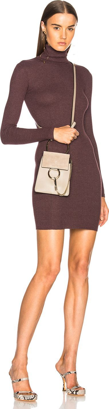 ENZA COSTA Turtleneck Long Sleeve Dress