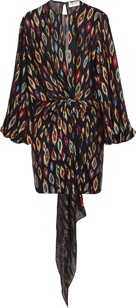Saint Laurent Metallic fil coupé silk-blend georgette mini dress