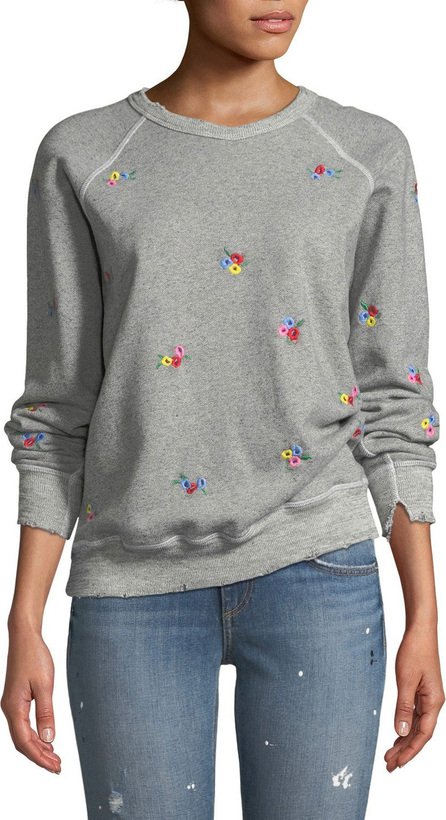 THE GREAT. The College Sweatshirt w/ Floral-Embroidery