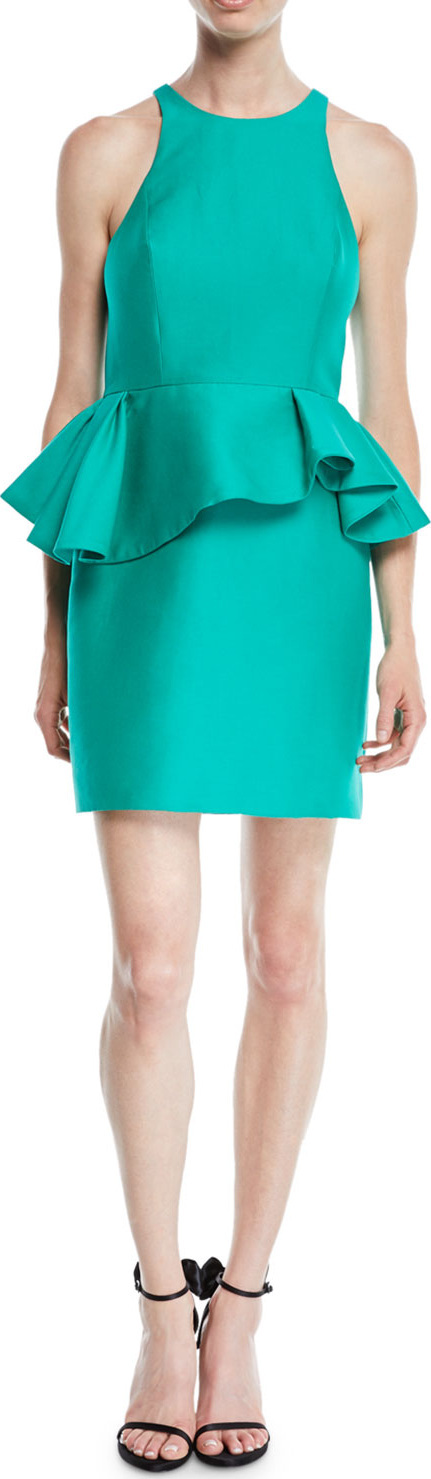 HALSTON HERITAGE Fitted Halter Dress w/ Peplum Waist