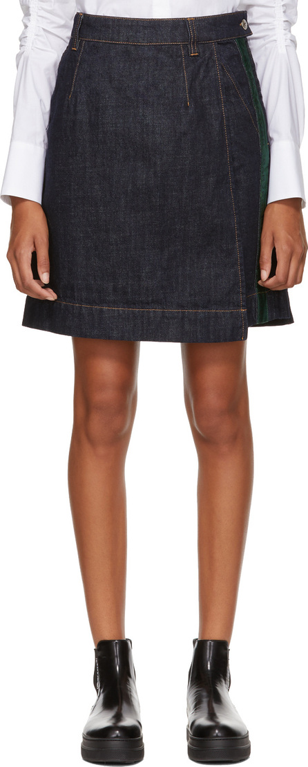 Carven Indigo Denim Wrap Miniskirt