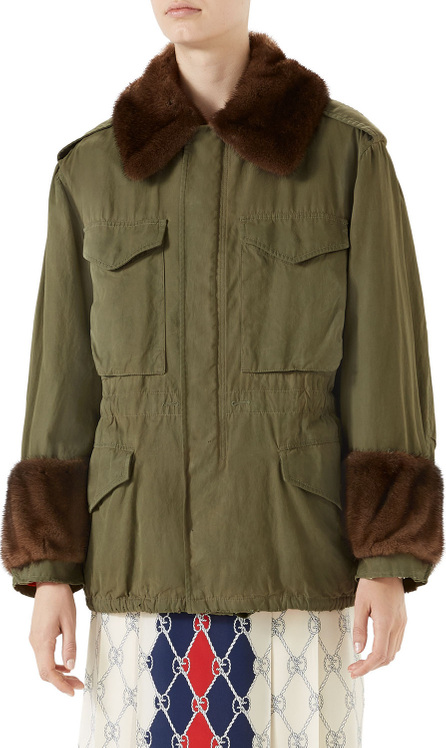 Gucci Cotton Parka with Mink Fur