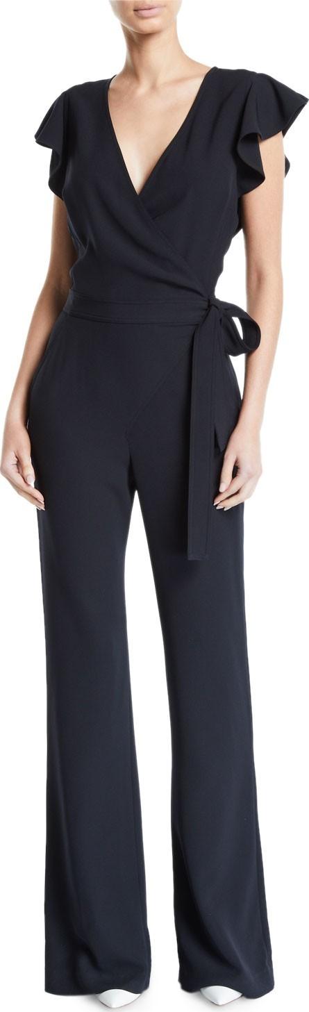 A.L.C. Wilder Flutter-Sleeve Wrap Jumpsuit