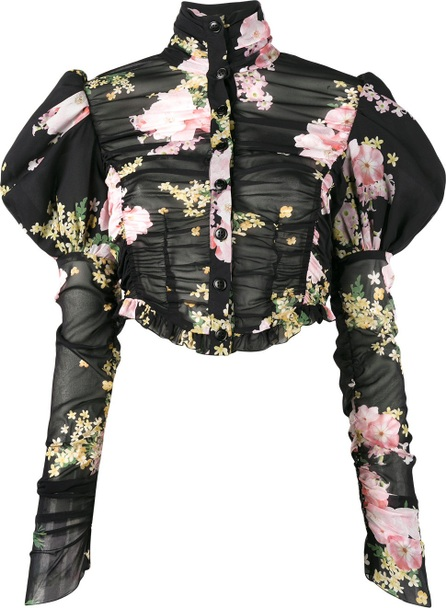 Alessandra Rich floral print puffy sleeve blouse