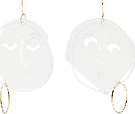J.W.Anderson Mismatched moon face drop earrings