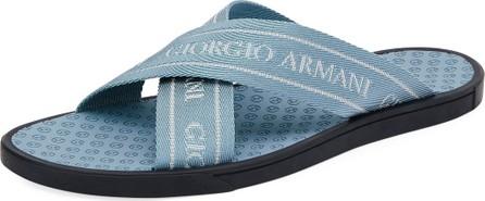 Giorgio Armani Men's Logo Jacquard Thong Sandals, Blue
