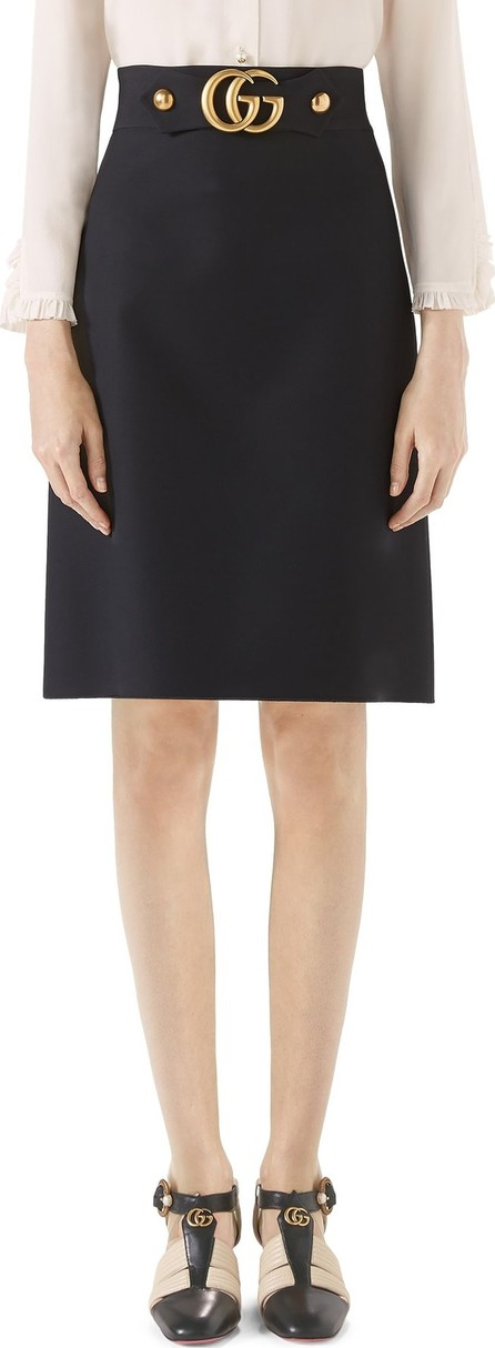 Gucci Double G Wool & Silk Crepe A-Line Skirt