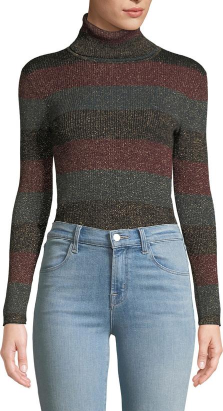 A.L.C. Mariel Striped Turtleneck Metallic Sweater