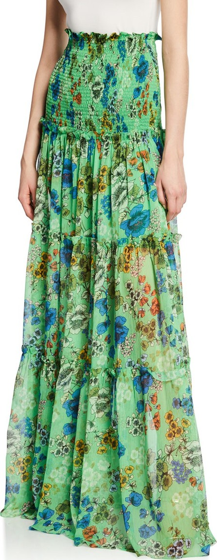 Alexis Roshan Floral Smocked High-Rise Maxi Skirt