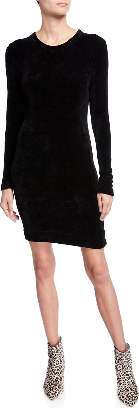 ENZA COSTA Slim Velour Long-Sleeve Sweatshirt Mini Dress
