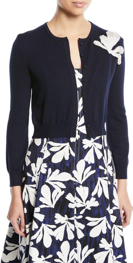 Oscar De La Renta Long-Sleeve Button-Front Wool Cardigan w/ Embroidered Seaweed Detail