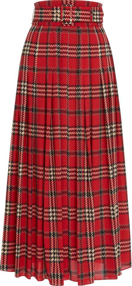 Emilia Wickstead Pris Pleated Tartan Flannel Skirt