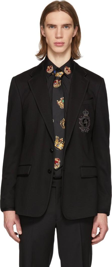 Dolce & Gabbana Black Embroidered Logo Blazer
