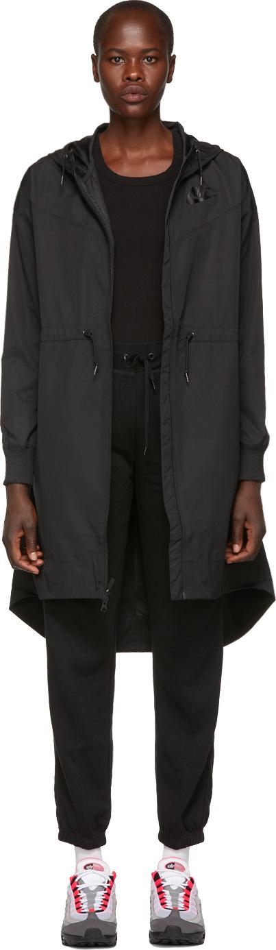 Nike Black NSW Long Windrunner Coat