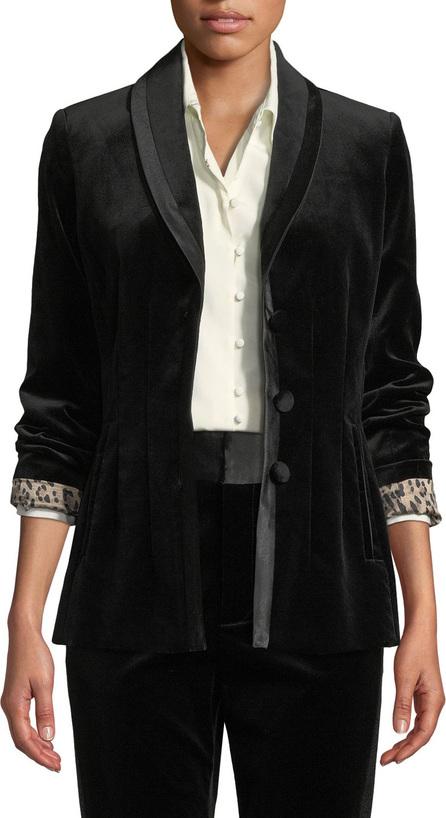FRAME DENIM Fitted Velvet Button-Front Blazer Jacket