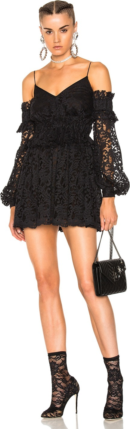 Francesco Scognamiglio Off the Shoulder Lace Mini Dress