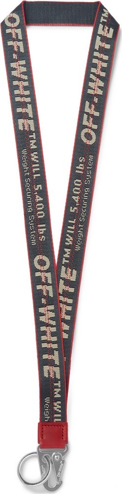 Off White Industrial Leather-Trimmed Logo-Jacquard Webbing Lanyard