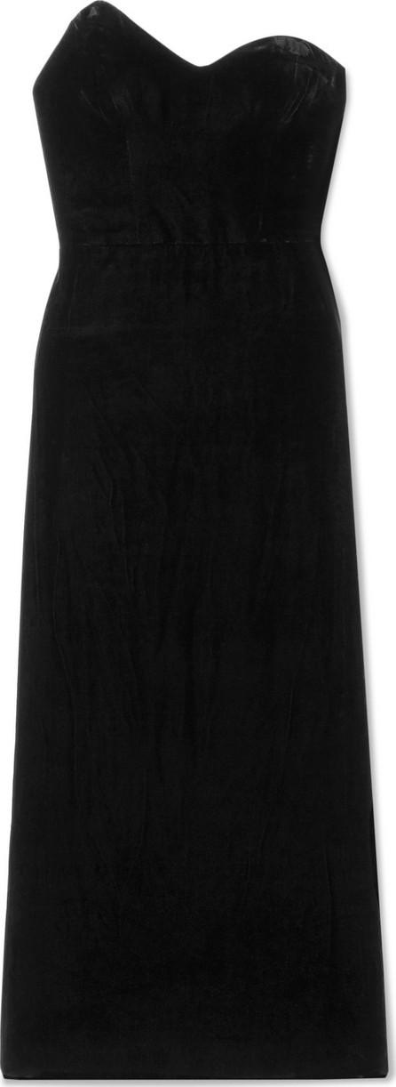 Monique Lhuillier Strapless velvet midi dress