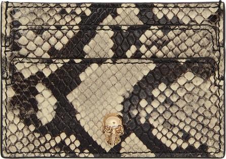 Alexander McQueen Off-White & Red Python Skull Card Holder