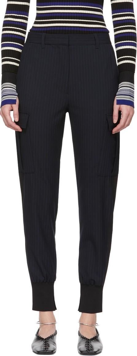 3.1 Phillip Lim Navy Pinstripe Cargo Jogger Trousers
