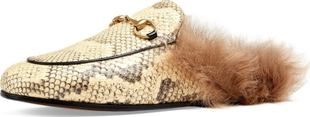 Gucci Princetown Fur-Lined Python Mule Slipper