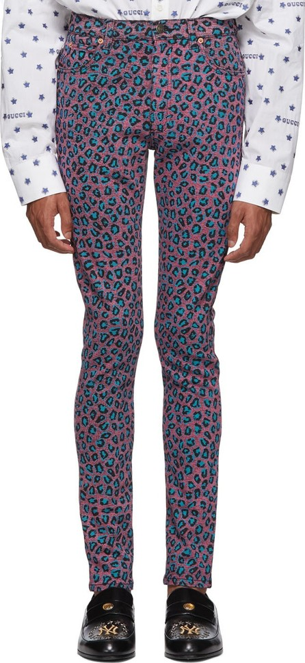 Gucci Pink & Blue Leopard Skinny Jeans