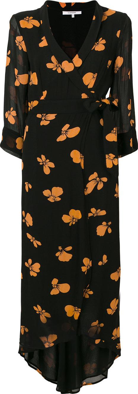 Ganni - Floral print wrap dress