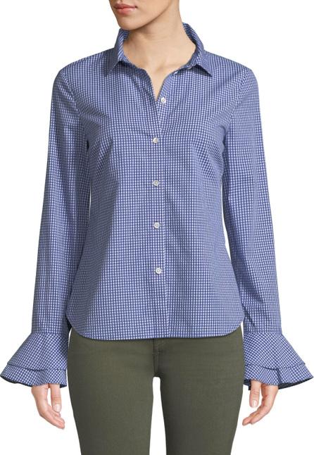 Derek Lam 10 Crosby Printed Bell-Sleeve Button-Front Shirt