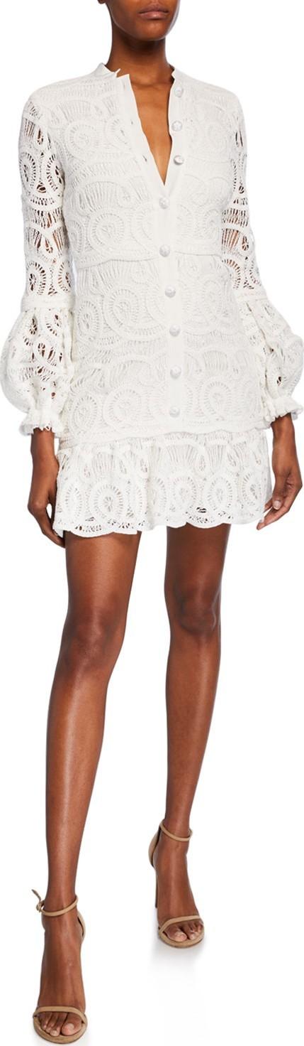 Alexis Liliyan Balloon-Sleeve Mini Crochet Dress