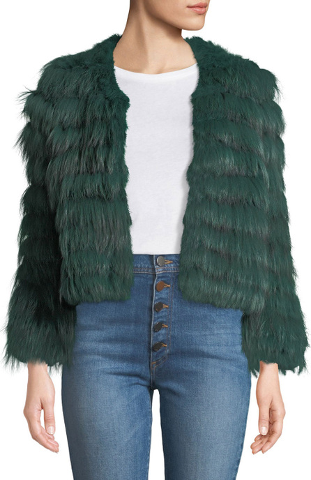 Alice + Olivia Fawn Chevron Fur Jacket