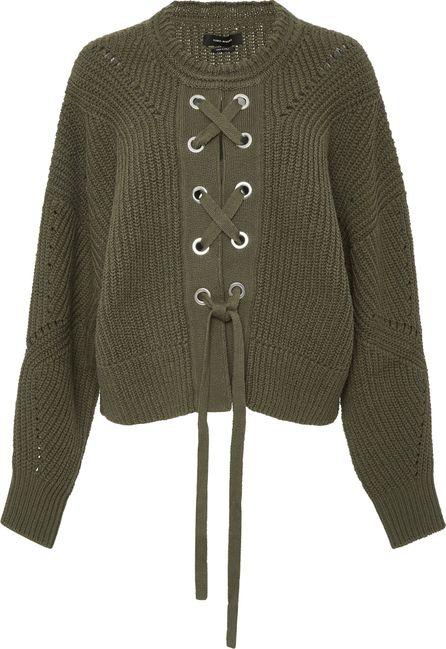 Isabel Marant Lacy Lace-Up Crewneck Sweater