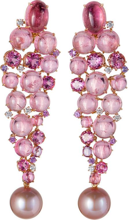 Margot McKinney 18k Pink Gold Drop Earrings w/ Detachable Pearls
