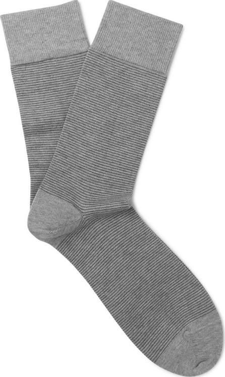 John Smedley Striped Sea Island Cotton-Blend Socks