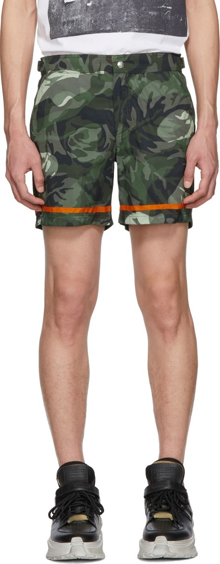Alexander McQueen Green & Orange Camo Rose Swim Shorts