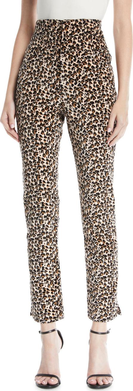 Rebecca Taylor Leopard-Print Velvet High-Waist Skinny Ankle Pants