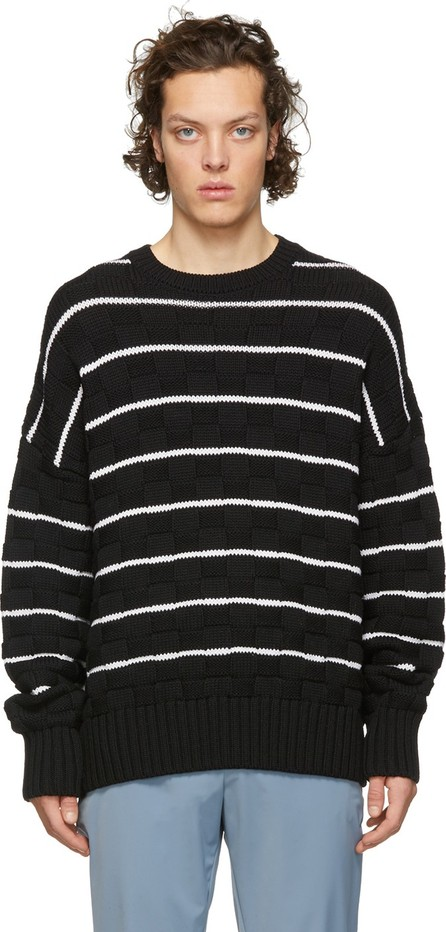 AMI Black & White Knit Striped Oversized Sweater
