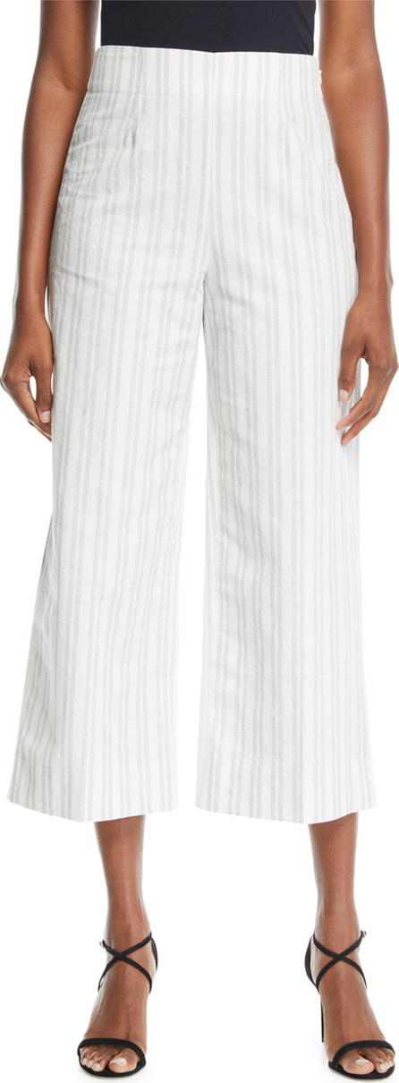 Rebecca Taylor Cropped Striped Cotton/Linen Pants
