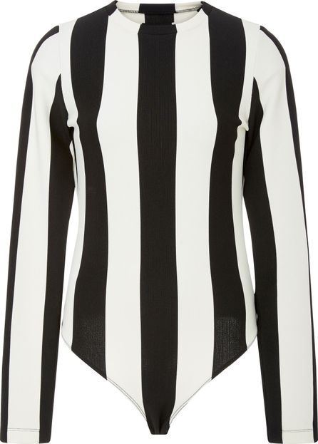 GOLDSIGN Black and White Striped Bodysuit