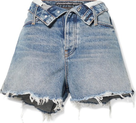 Alexander Wang Bite Flip fold-over frayed denim shorts