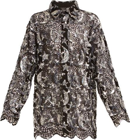 ASHISH Star and moon sequin-embellished cotton-mesh shirt