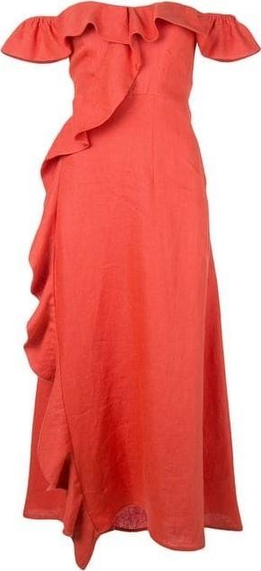 Beau Souci Luciana Off-the-Shoulder Ruffle Midi Dress
