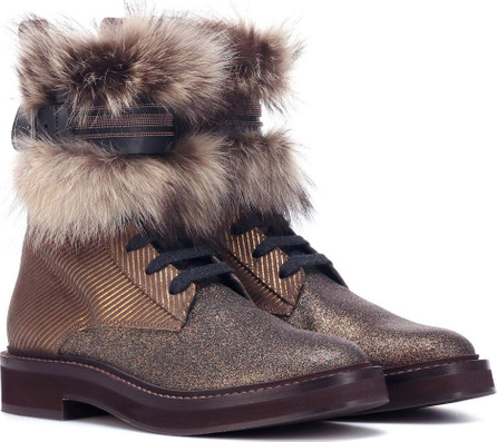 Brunello Cucinelli Fur-trimmed ankle boots