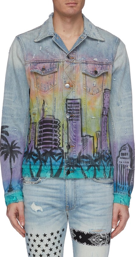 Amiri 'Airbush Hollywood' graphic print denim trucker jacket