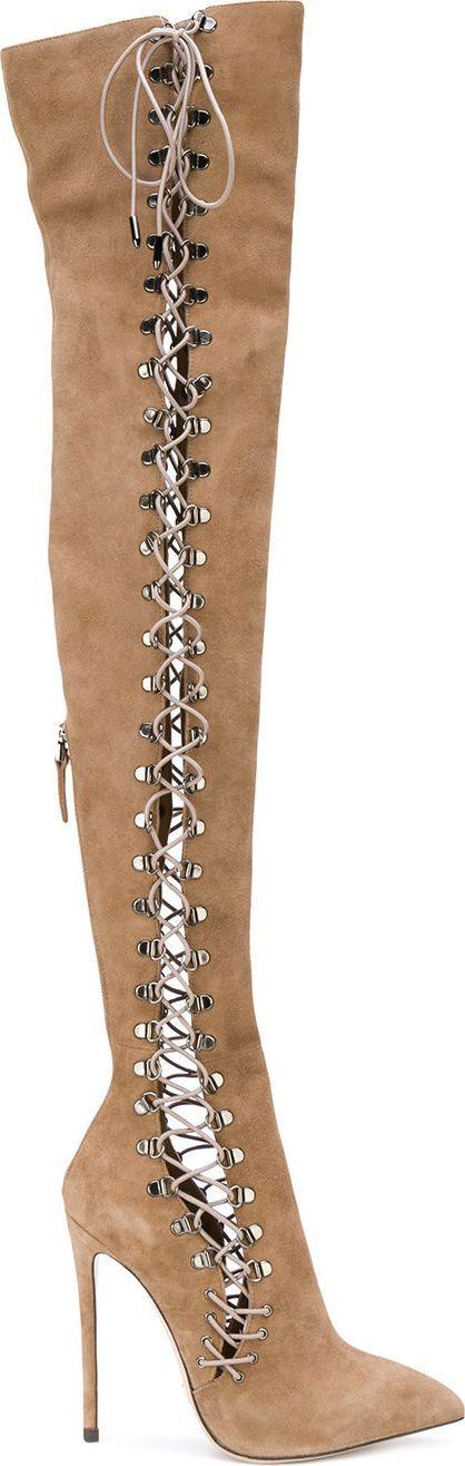 Gianni Renzi lace-up thigh high heeled boots