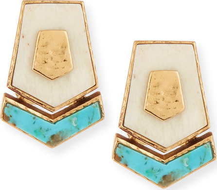 Akola Turquoise & Bone Hexagon Stud Earrings
