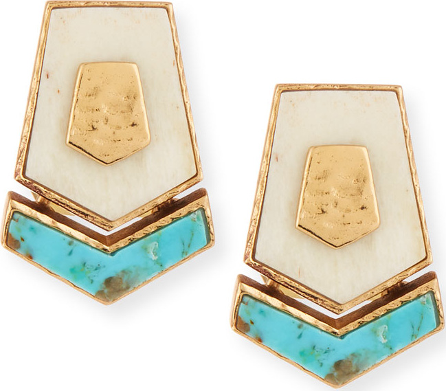 Akola - Turquoise & Bone Hexagon Stud Earrings