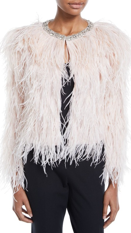 Carolyn Rowan Ostrich Feather Jacket with Swarovski Crystals