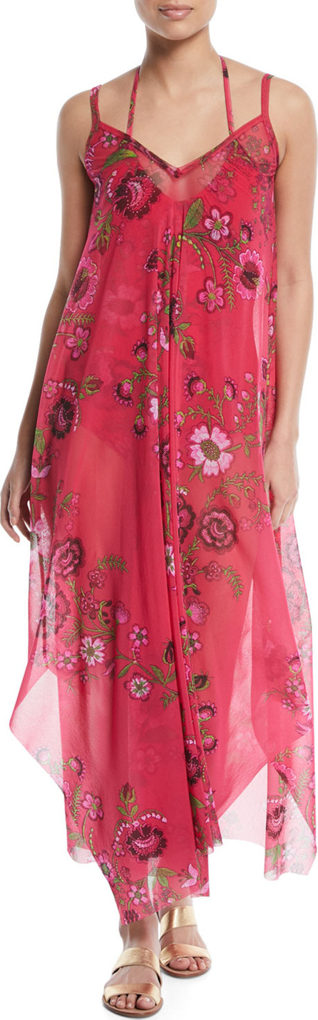 Fuzzi Floral-Print Maxi-Length Coverup Dress