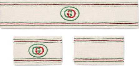 Gucci Logo-Detailed Cotton-Blend Headband and Wristbands Set