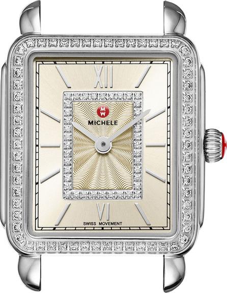 MICHELE Deco II Midsize Diamond Watch Head, Champagne Dial